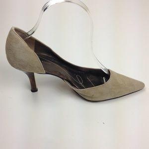 Anne Klein Christa D'Orsay Pumps Beige Leather 7.5